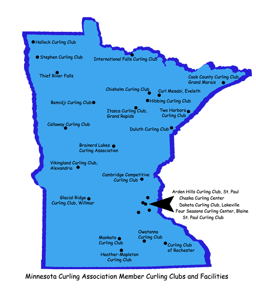 Map of Minnesota Curling Clubs